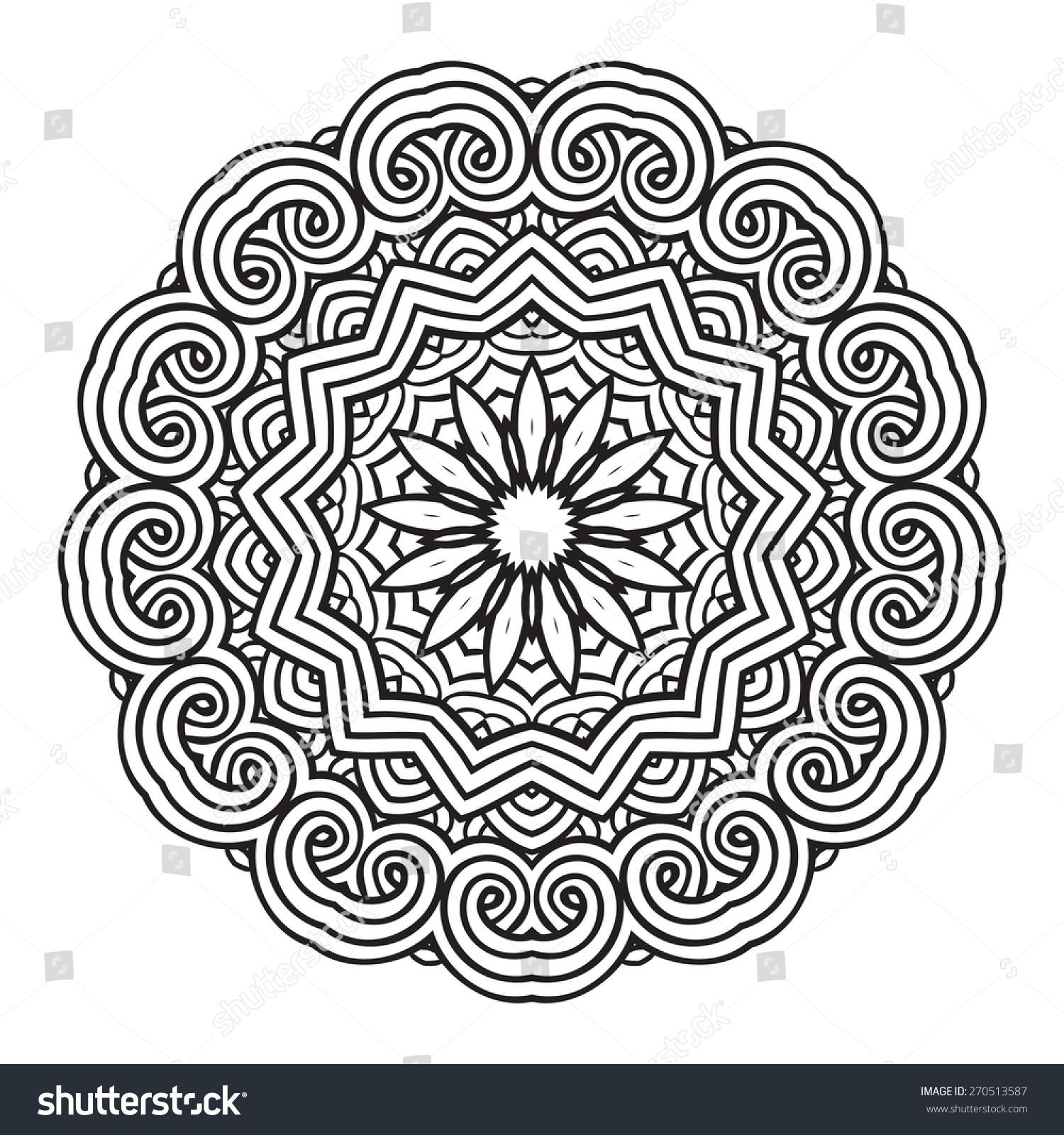 Ethnic Fractal Mandala Vector Circle Meditation Stock Vector ...