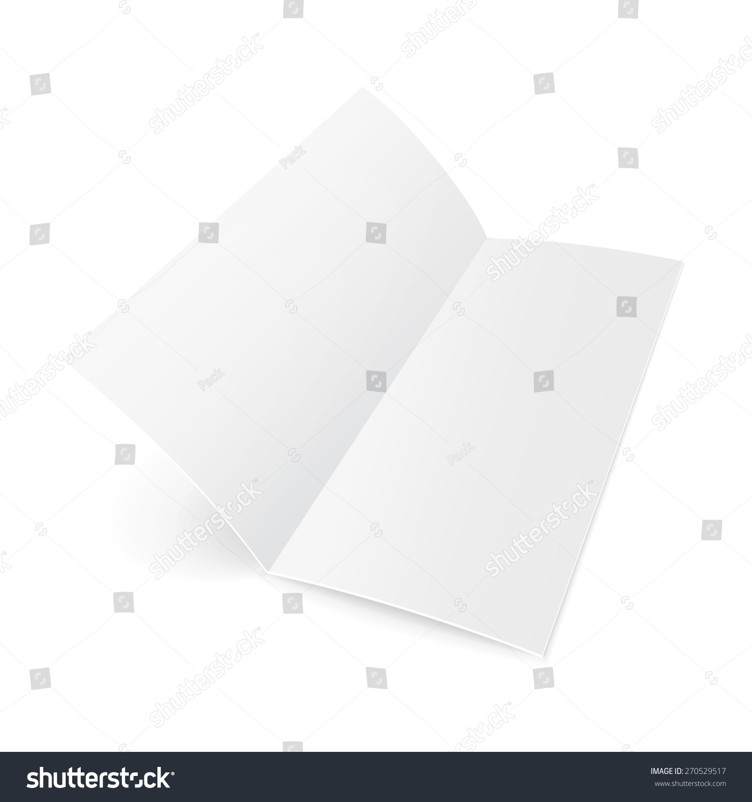 paper brochure holder template - blank twofold trifold folded sheet paper stock vector