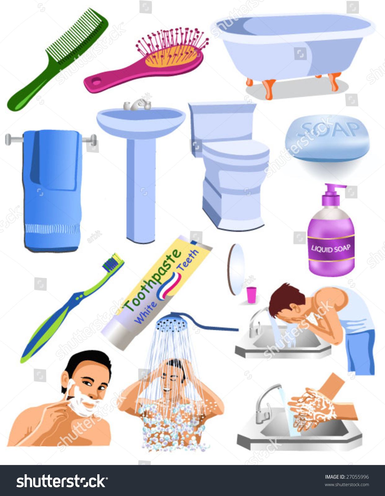 Bathroom Objects Stock Vector Royalty Free 27055996