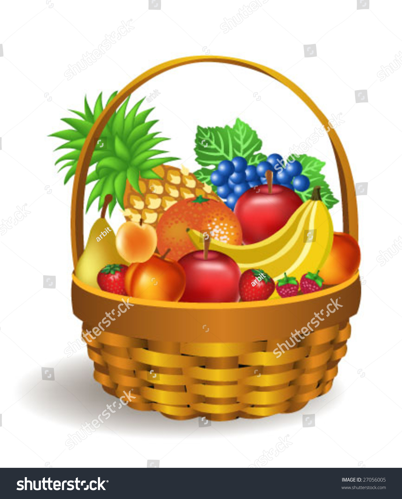 Fruits Basket Stock Vector 27056005