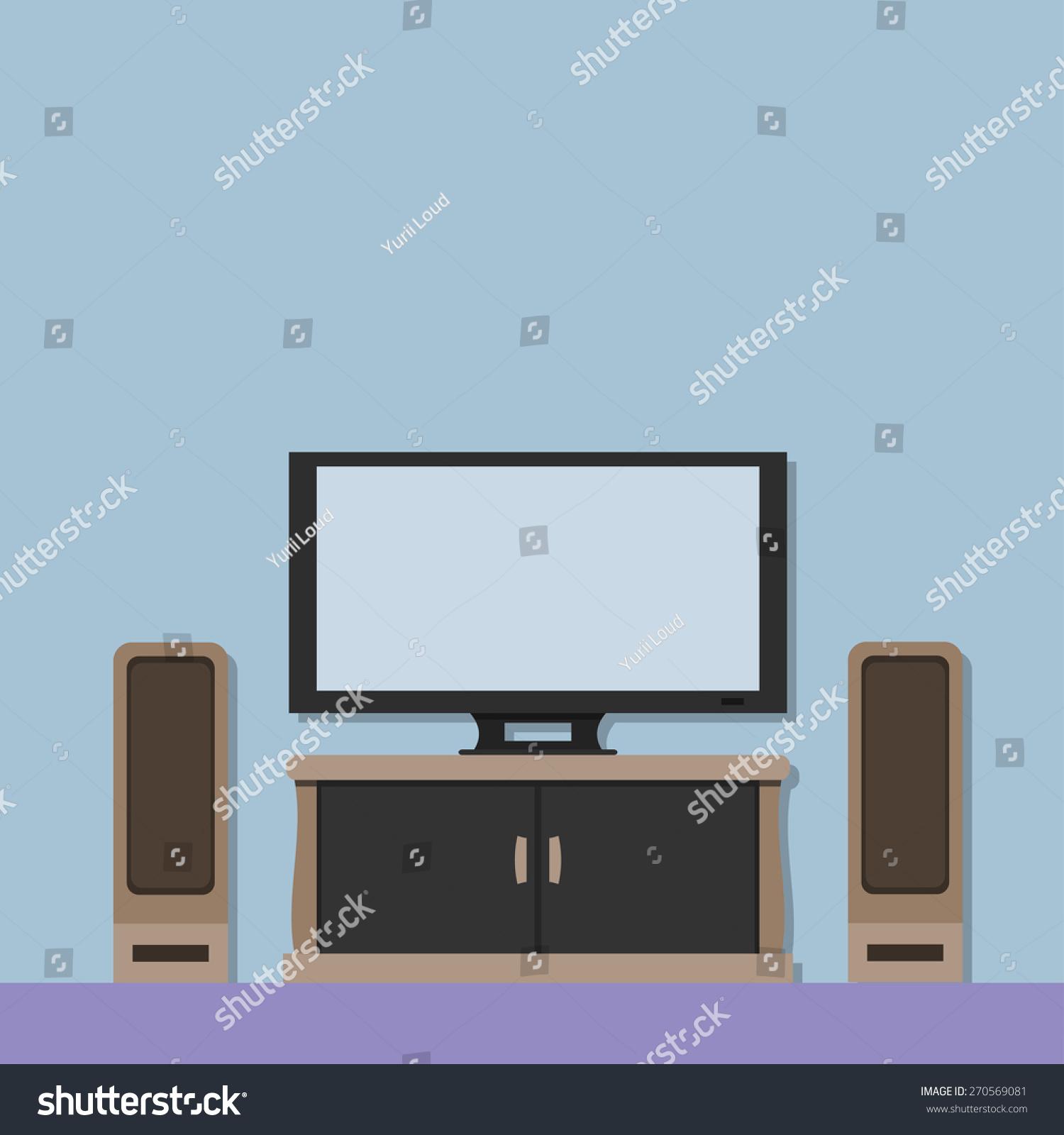 Modern Interior Flat Design Living Room Vector