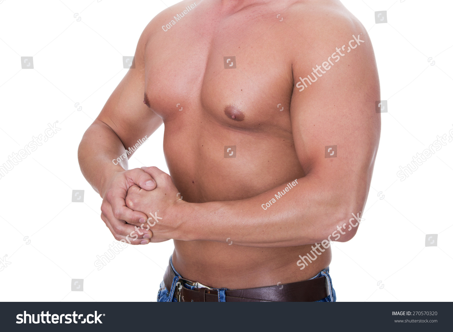 Upper Body Muscular Slim Young Man Stock Photo Edit Now 270570320