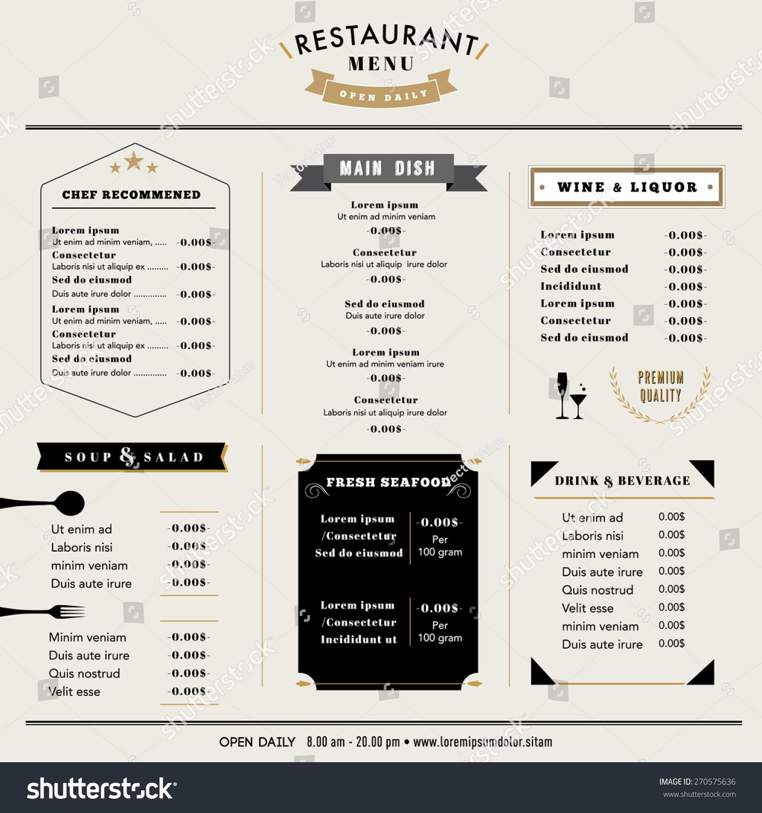 Restaurant menu design template layout vintage stock