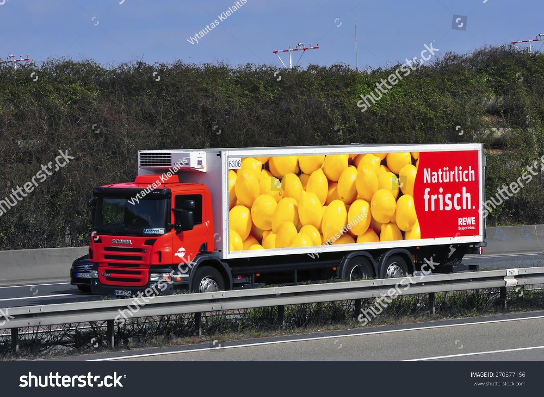 Frankfurtgermanymarch 28scania Truck Rewe On Highway Stock