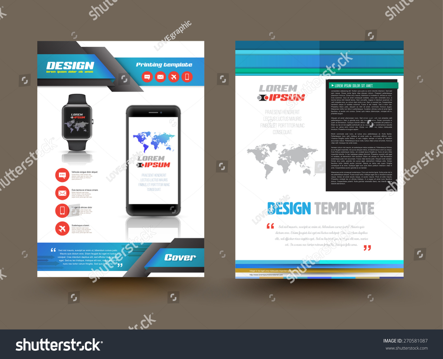 Vector Brochure Template Design Technology Product Stock Vector - Product brochure templates