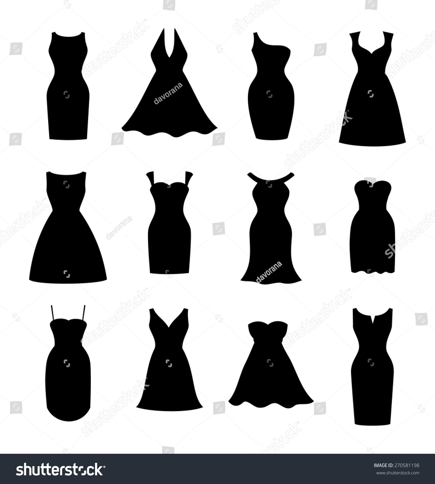 Little Black Dress Fashion Boutique Set Stock Vector 270581198 ...
