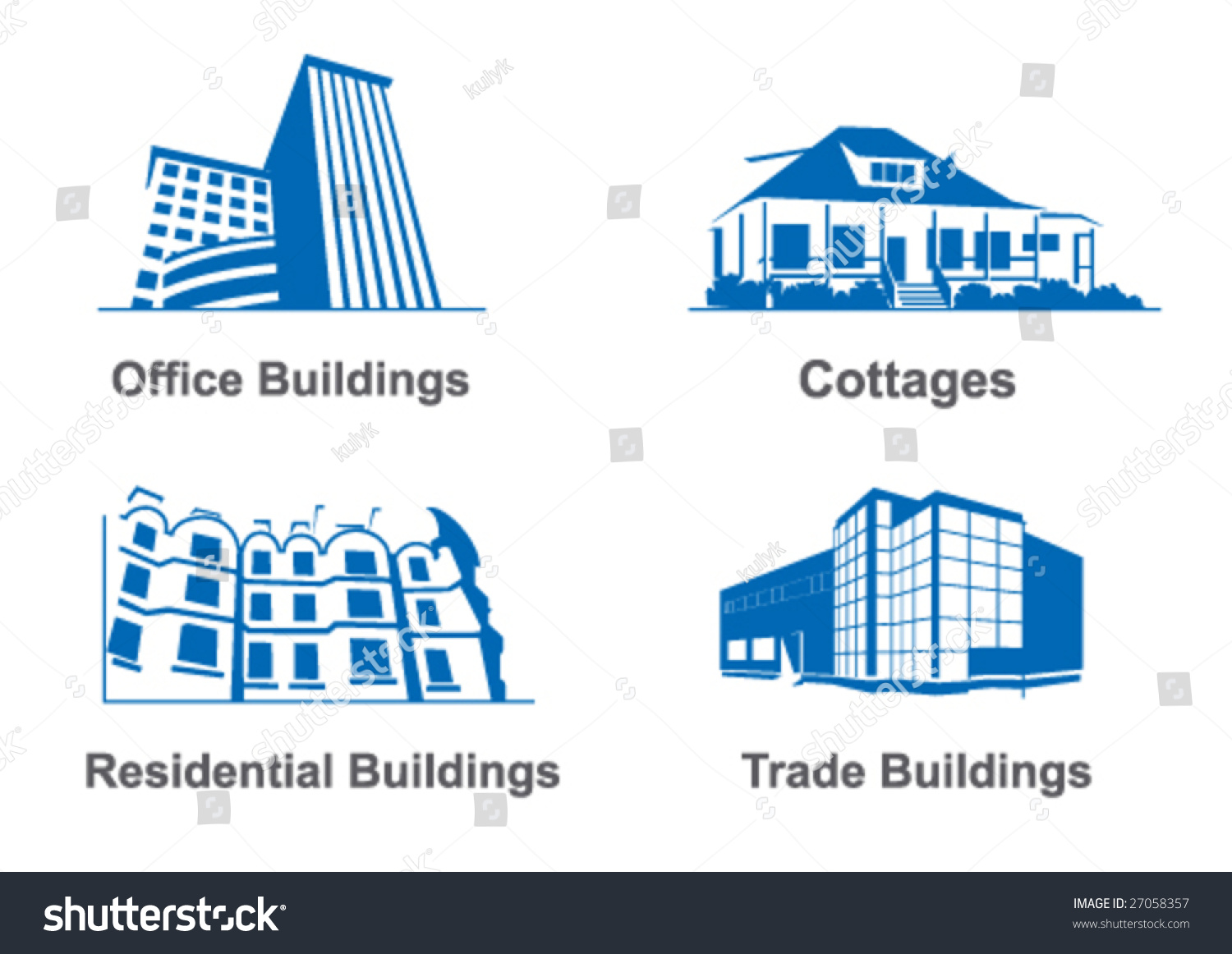 Different Types Of Buildings : Illustrations different types buildings vectores en stock