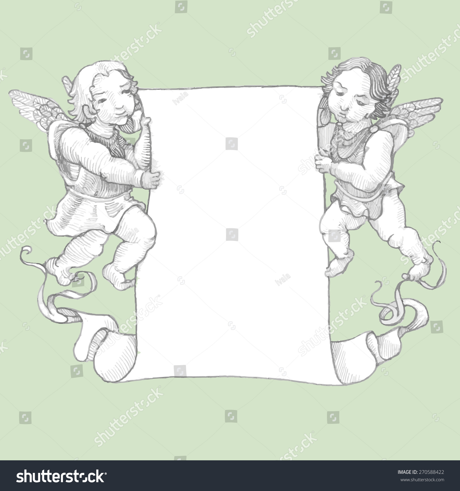 drawing angels holding scroll engraving vector stock vector