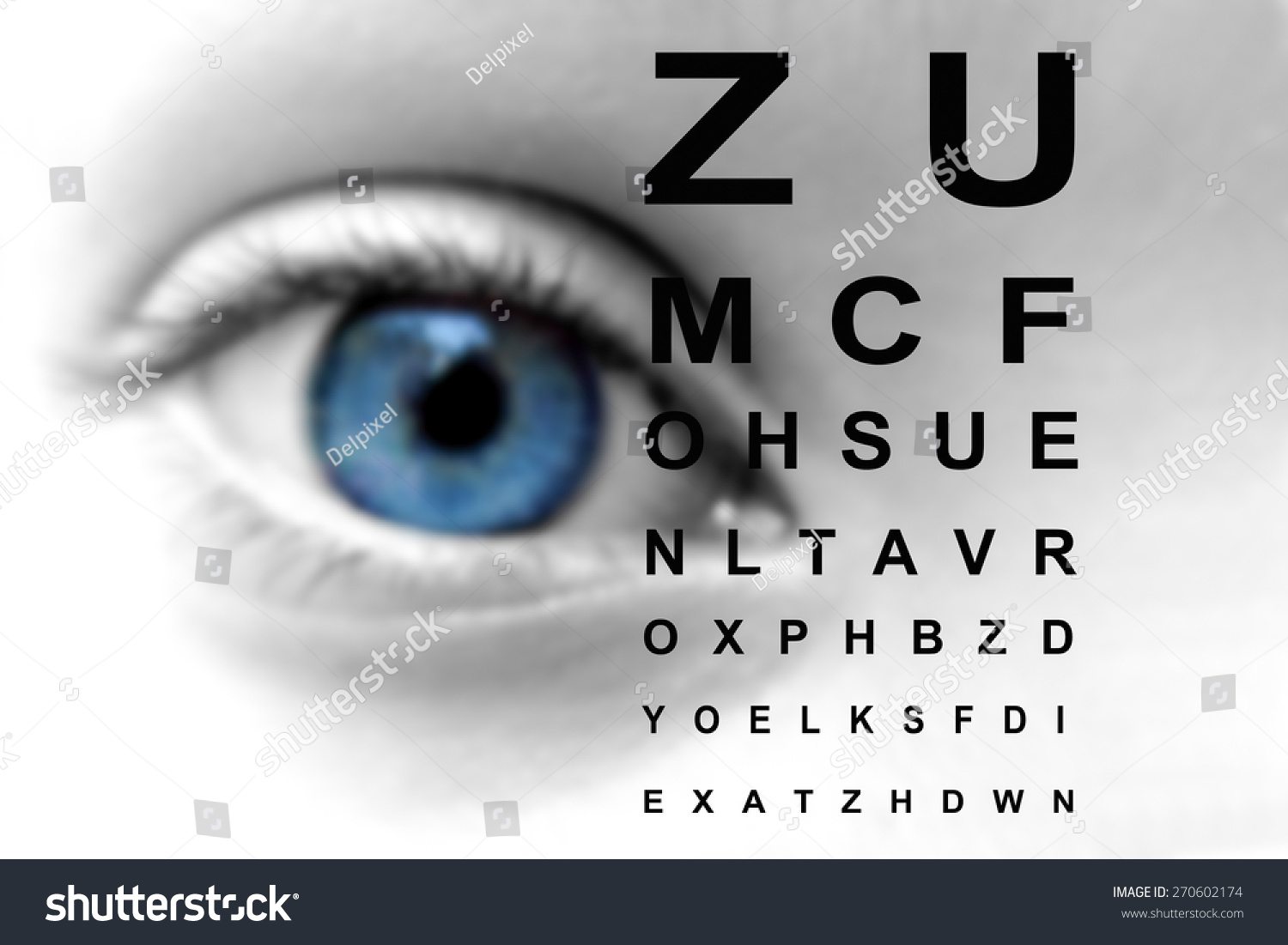 Close eye vision test chart stock photo 270602174 shutterstock close up of an eye and vision test chart geenschuldenfo Image collections