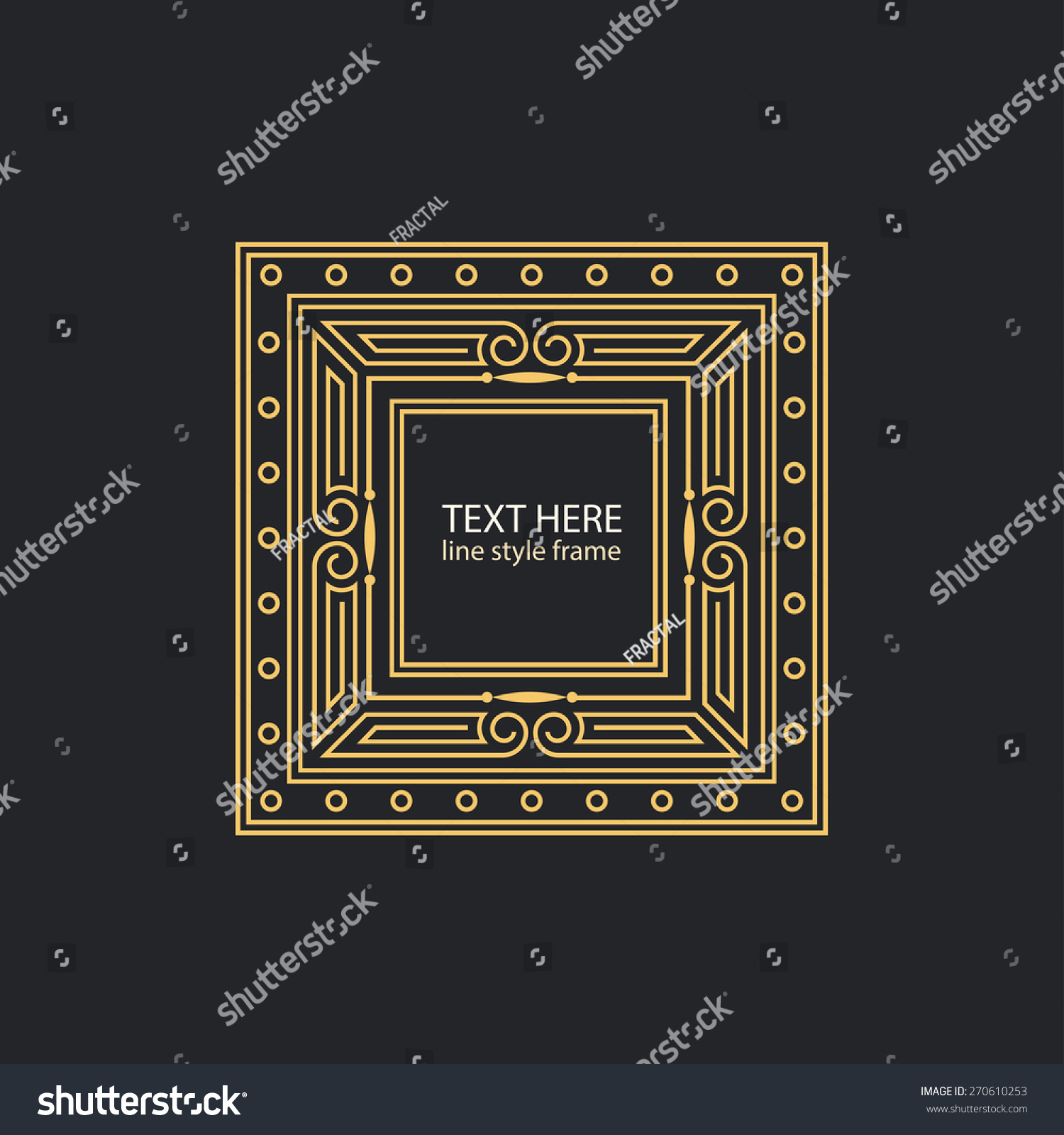 Vector text decoration linear style frame stock vector for A style text decoration