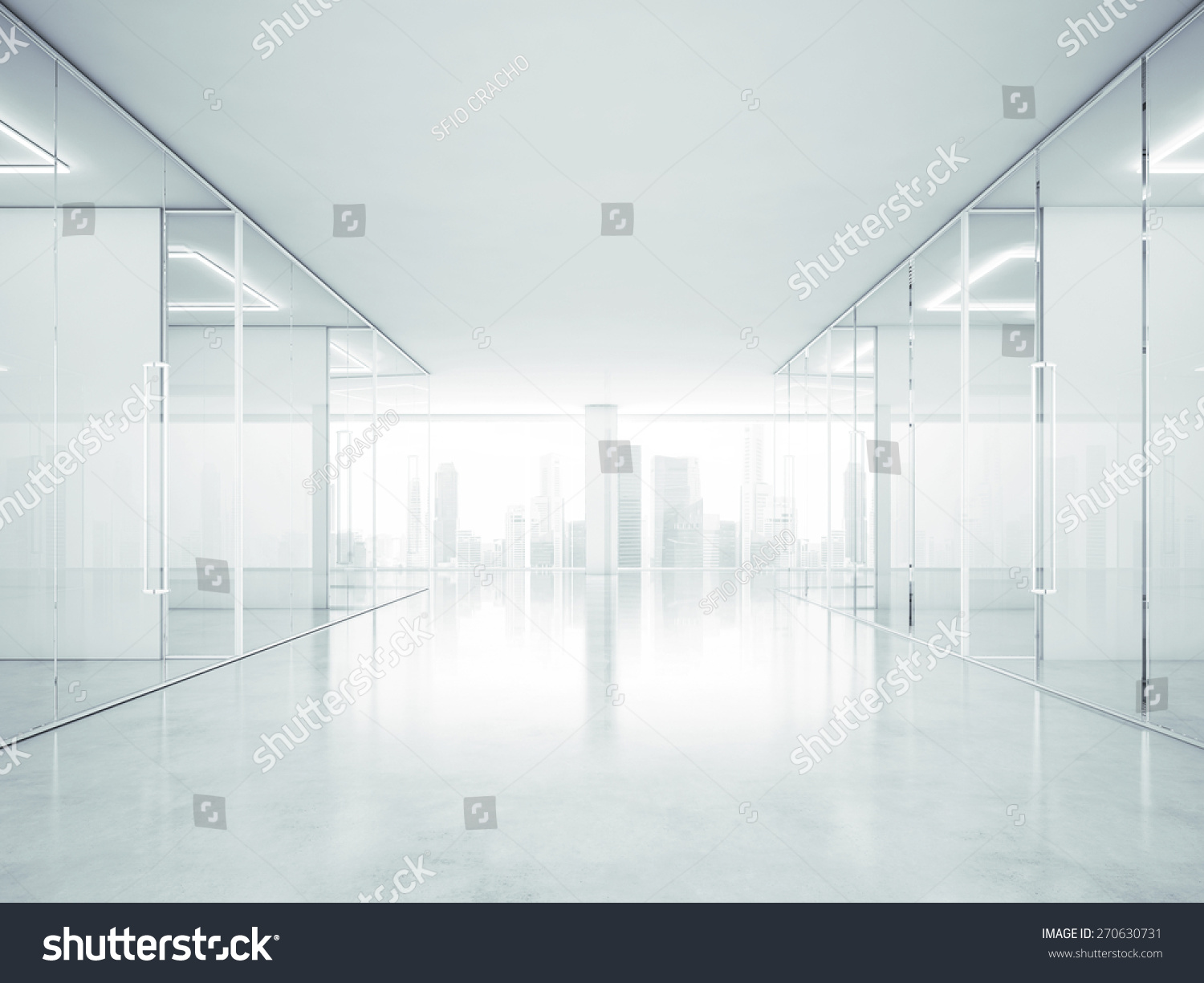 Interior office windows - White Office Interior With Panoramic Windows 3d Rendering