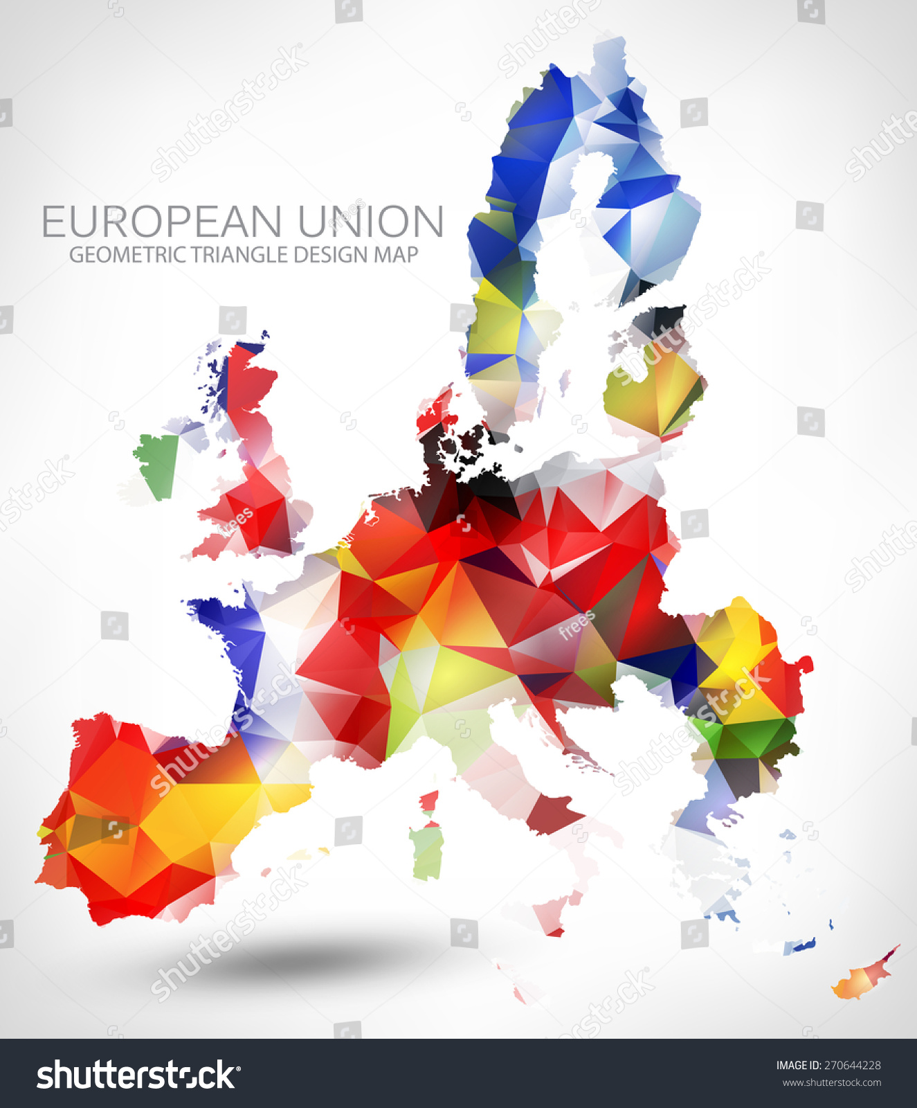 Geometric triangle design map european union stock vector for European design