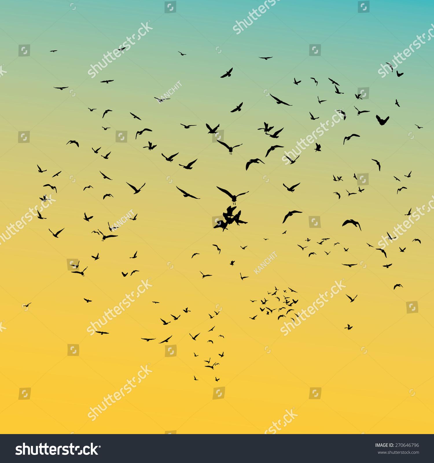 Stock Vector A Flock Of Flying Birds Vector