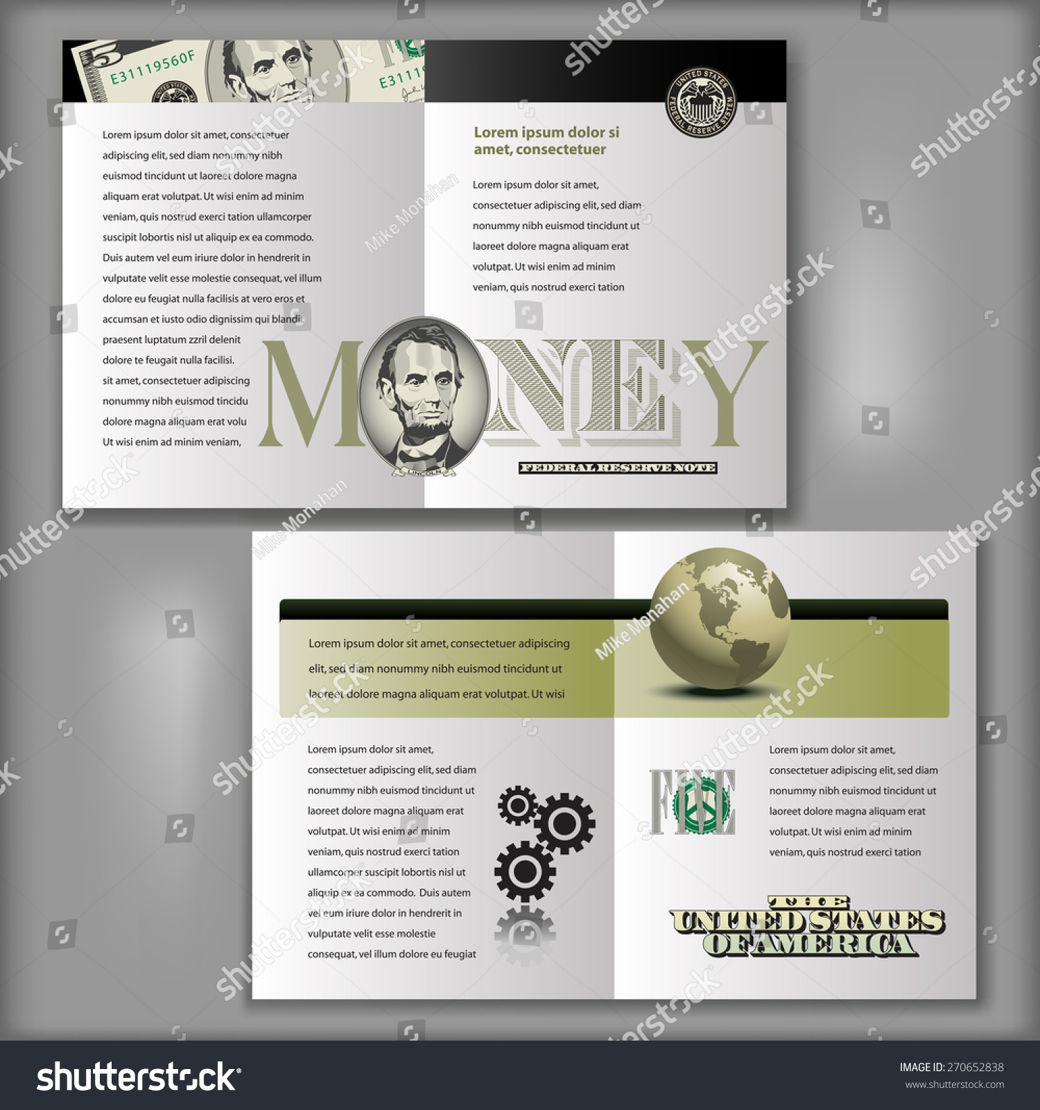 Four Page Brochure Layout Template Money Stock Vector - Four page brochure template