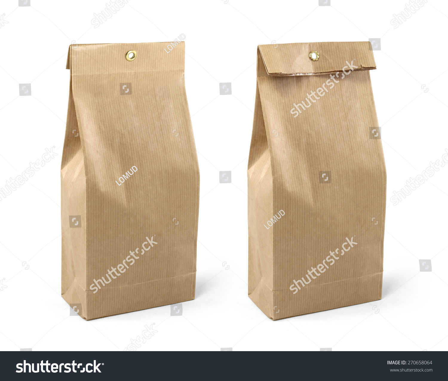 brown paper bag packaging template isolated stock photo