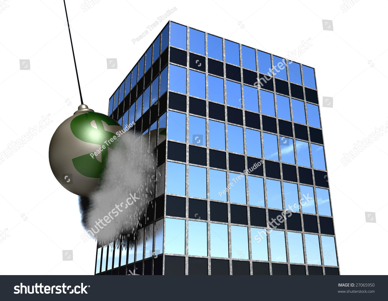 Wrecking Ball Building : A giant wrecking ball destroying an office building stock