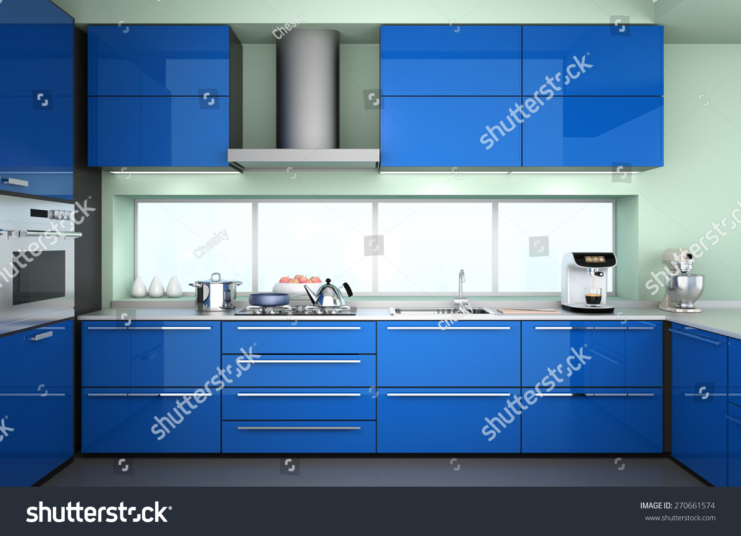 modern kitchen interior blue color theme stock illustration modern kitchen interior in blue color theme 3d rendering image