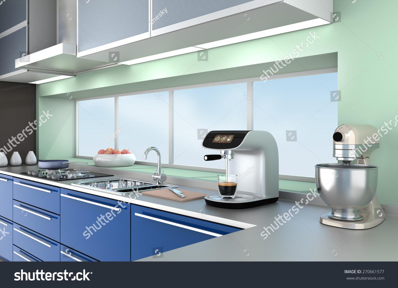 Modern Kitchen Interior Blue Color Theme Stock Illustration ...