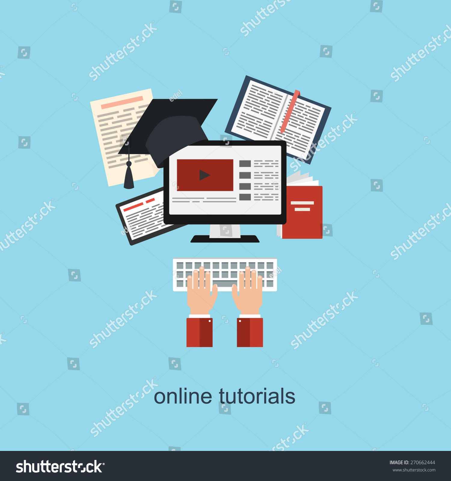 Online Tutorial Concept Vector Illustration Flat Stock Vector ...