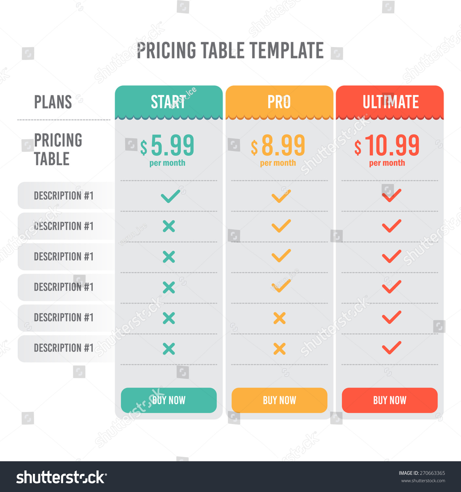 Pricing Plan: Pricing Table Template With Three Plan Type