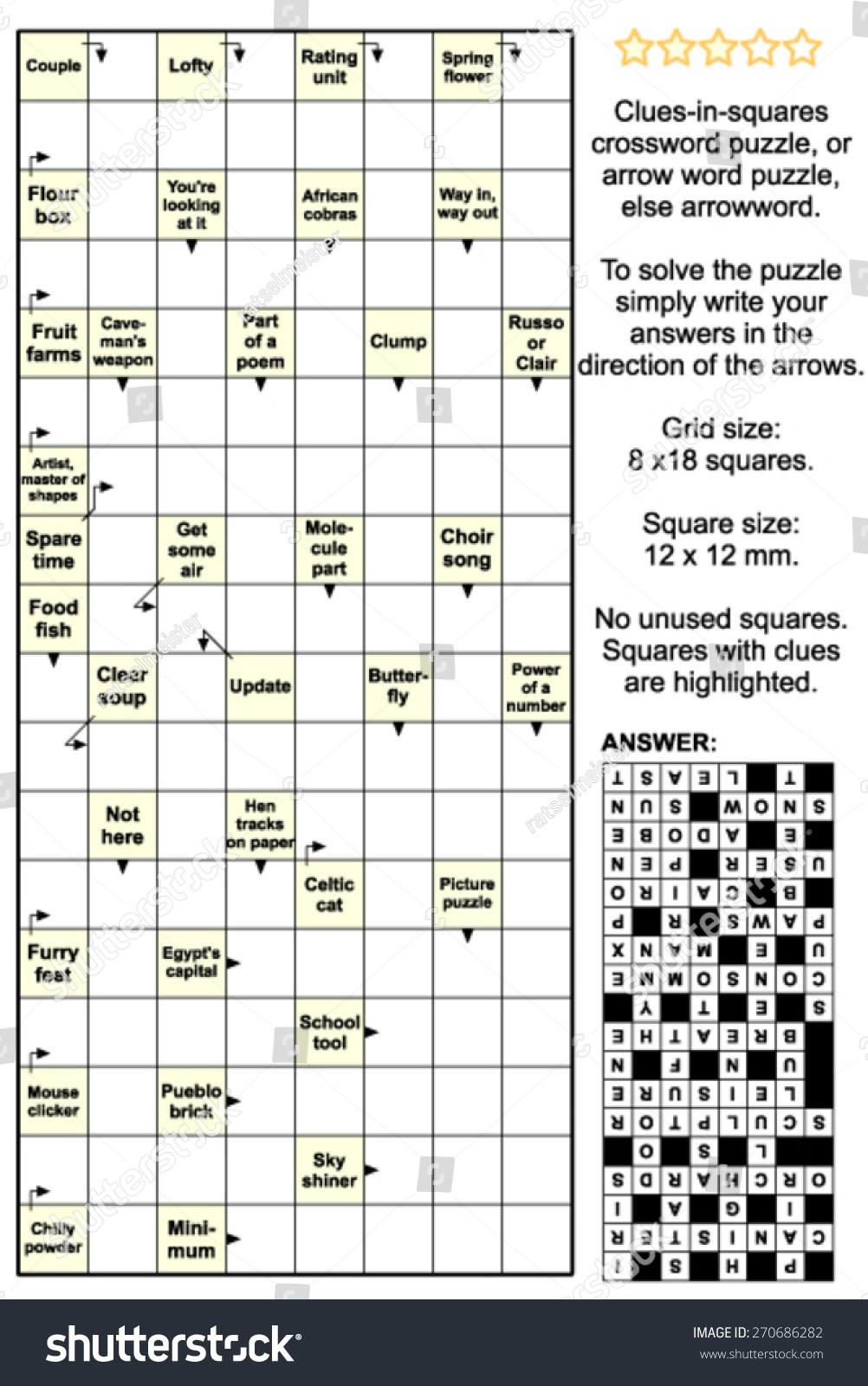 Clues In Squares Crossword Puzzle Or Stock Photo 270686282