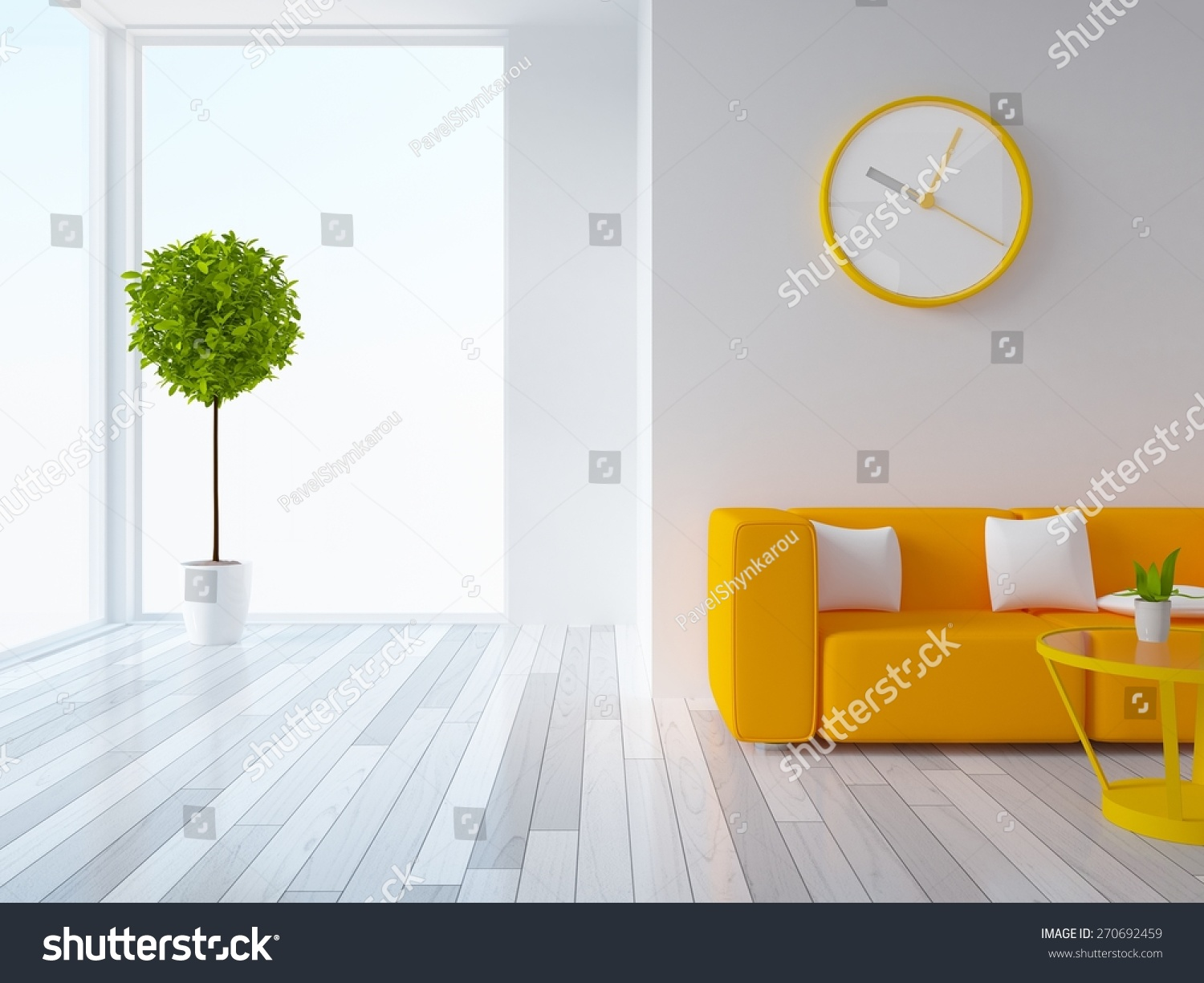 3D Rendering Of A White Living Room With Orange Furniture Part 83