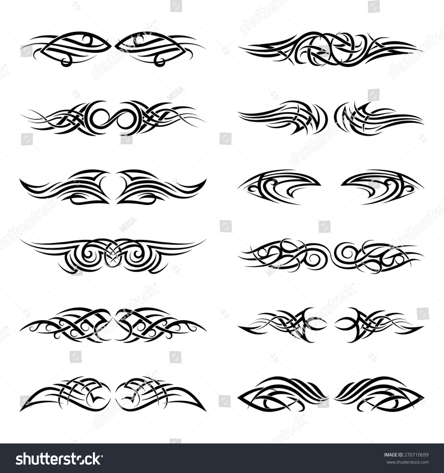 Tribal-Tattoos stock-vector-vector-tribal-tattoos-pattern-art-ornament-shape-black-illustration-creative-element-270710699