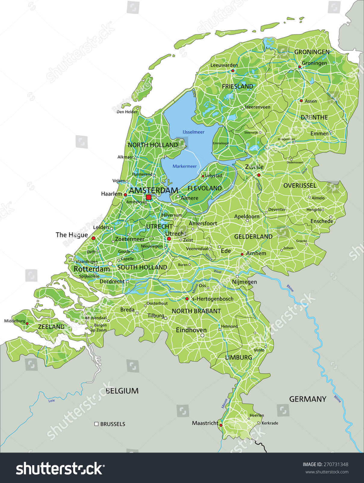 High detailed netherlands physical map labeling stock vector high detailed netherlands physical map with labeling sciox Images