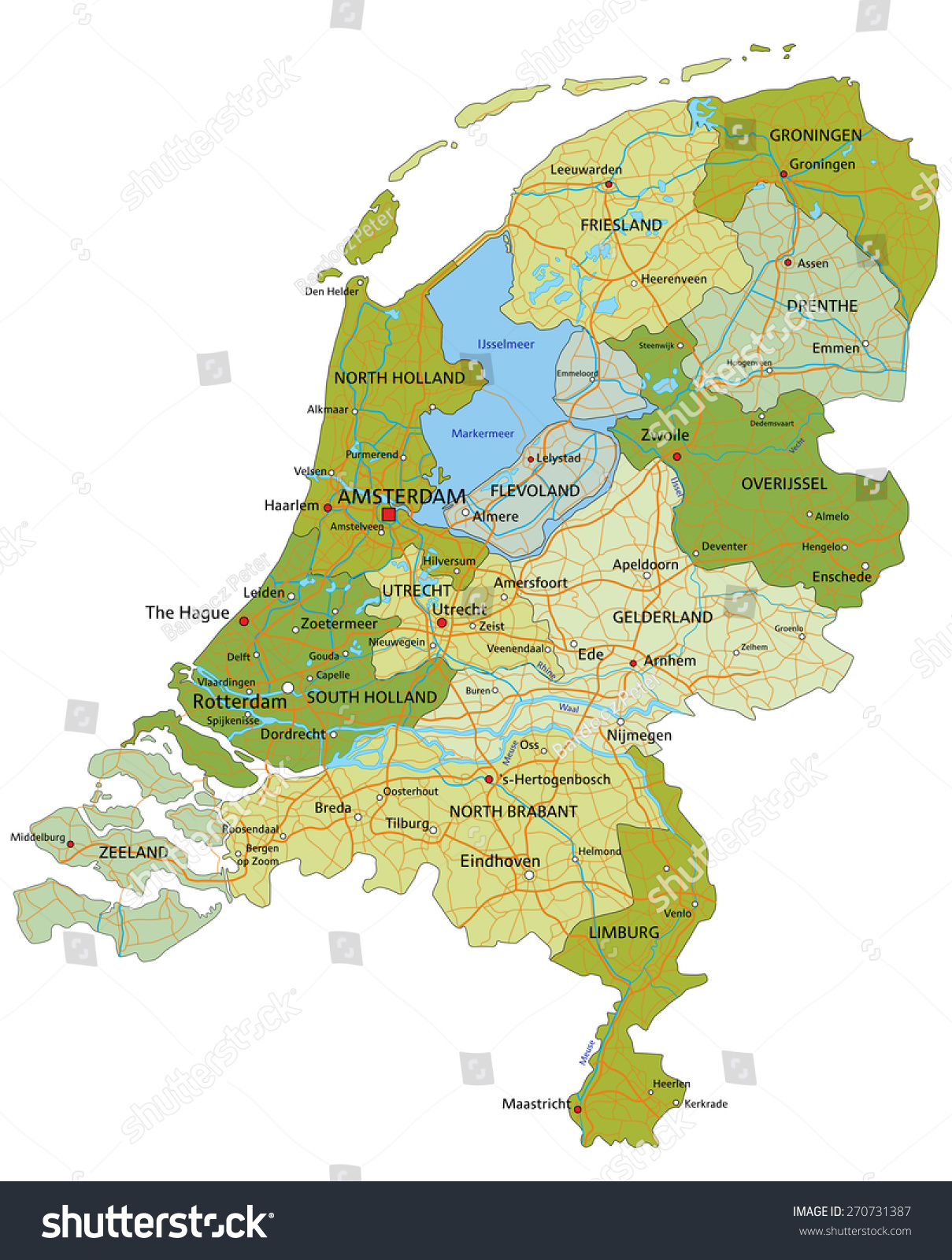 Netherlands Map Of Country%0A Highly Detailed Editable Political Map Separated Stock Vector