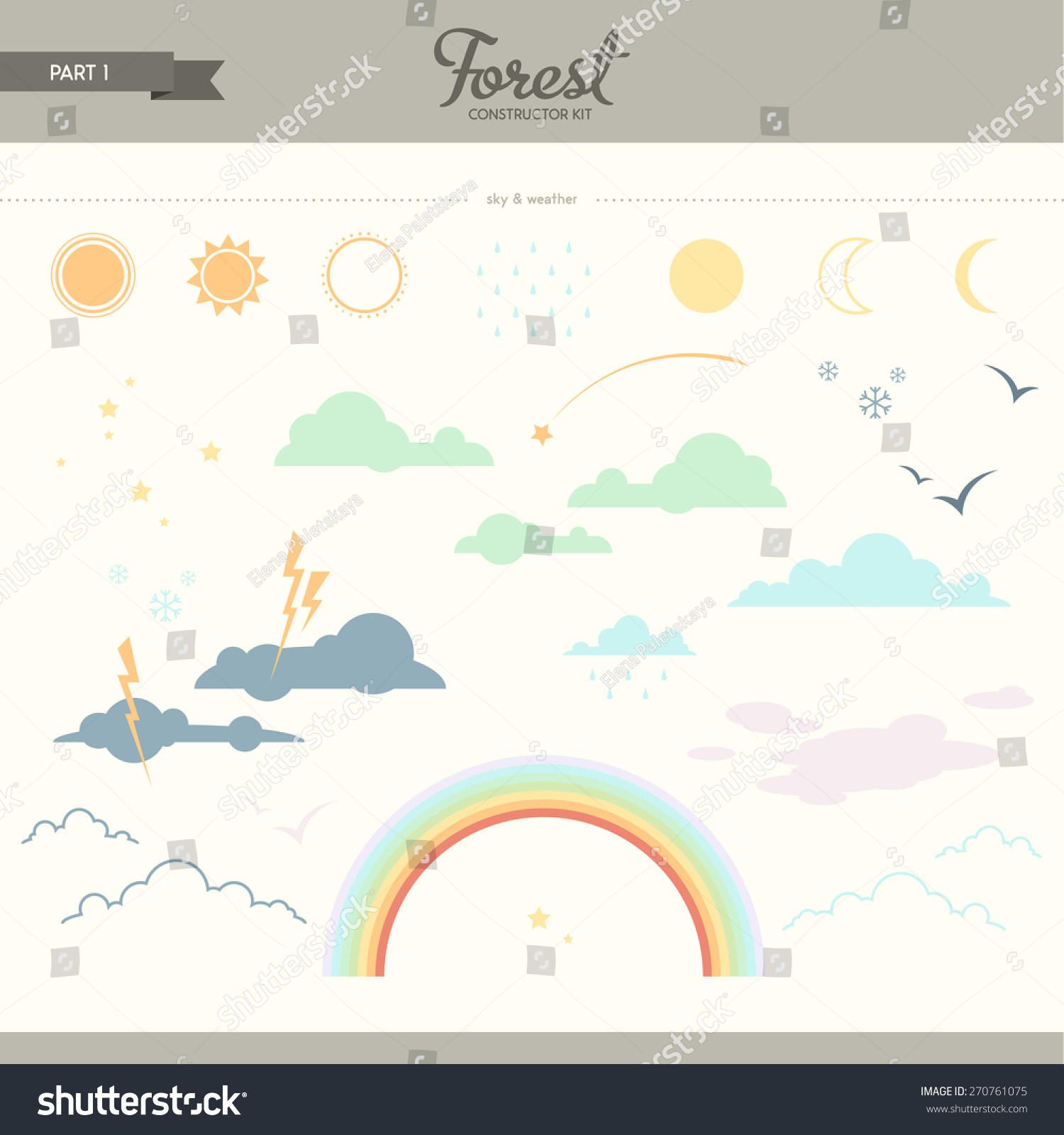 forest kit part 1 sky weather stock vector 270761075. Black Bedroom Furniture Sets. Home Design Ideas