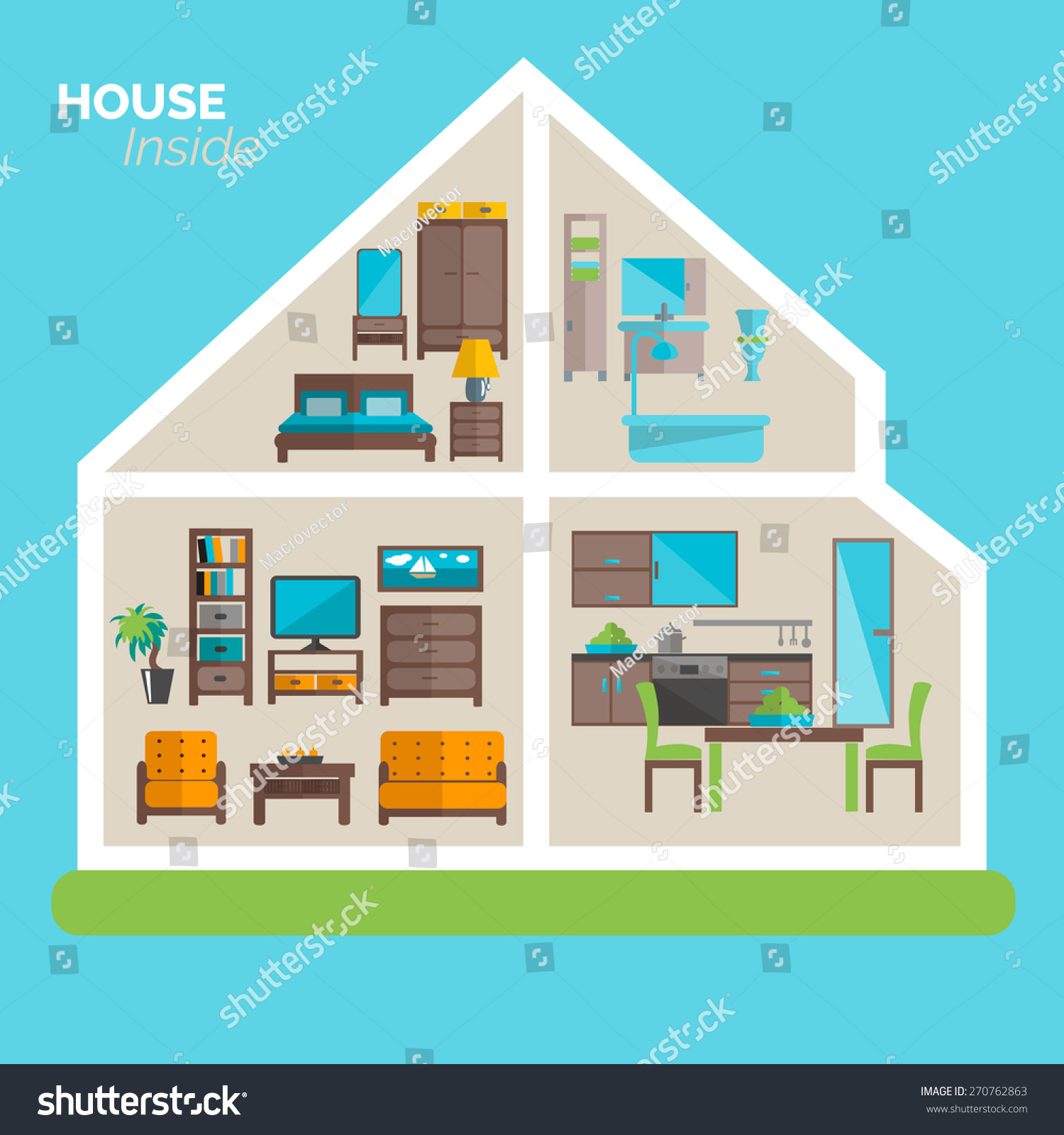 Awesome House Inside Interior Design Ideas Poster For Sleeping Sitting Rooms And  Kitchen Furniture Flat Abstract Vector