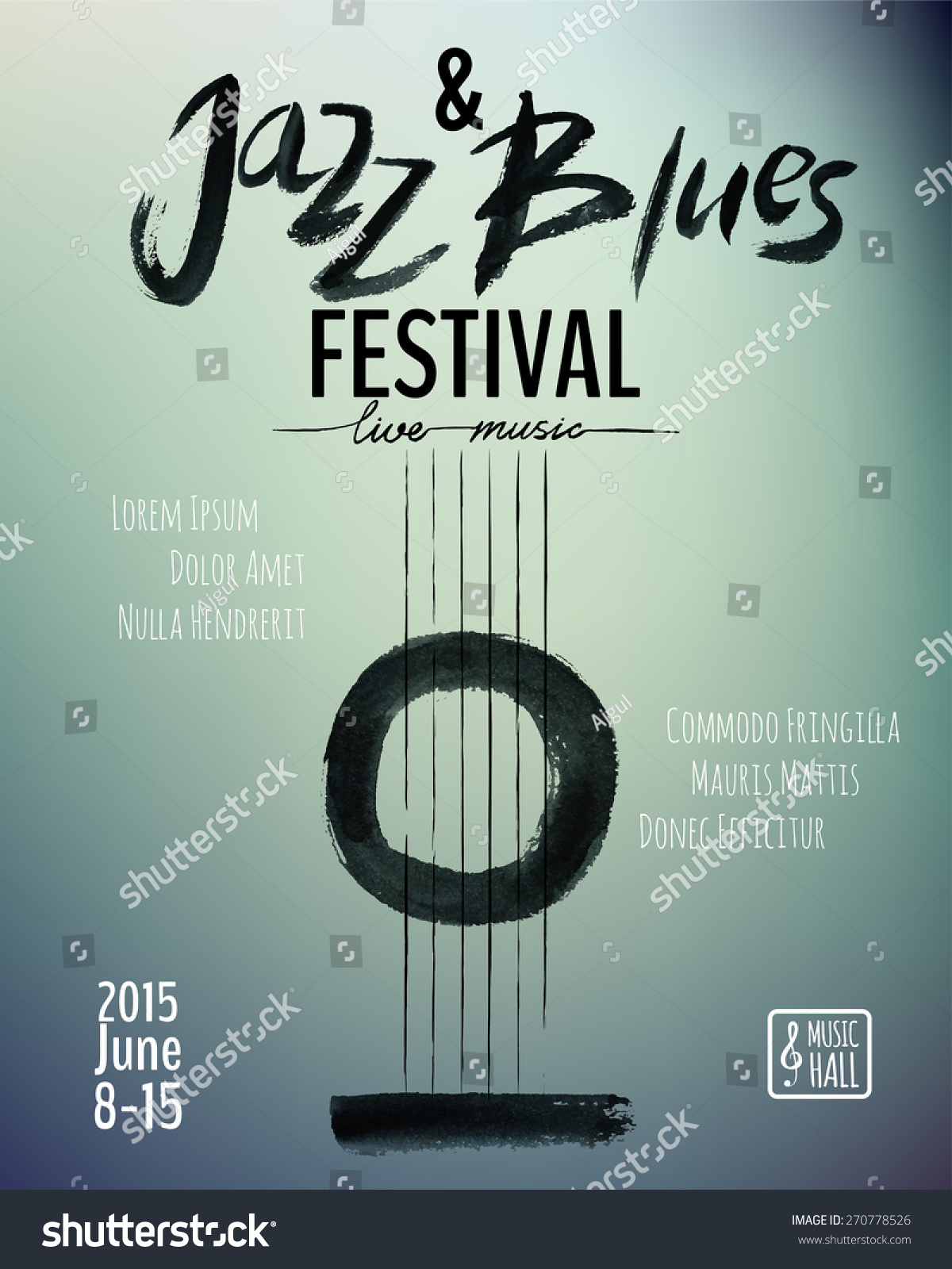 jazz blues music festival poster background stock vector