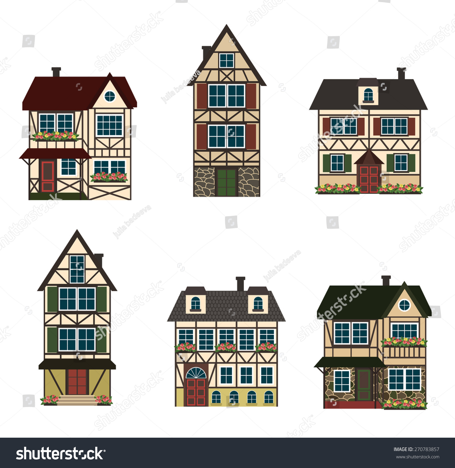 Set Of Six German Houses Vector Illustration 270783857