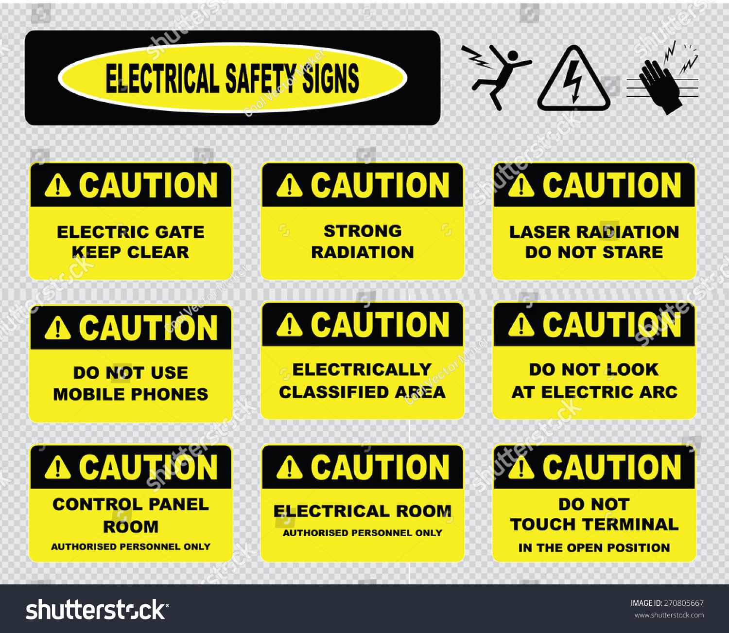 Electrical Safety Signs Various Caution Signs Stock Vector Royalty