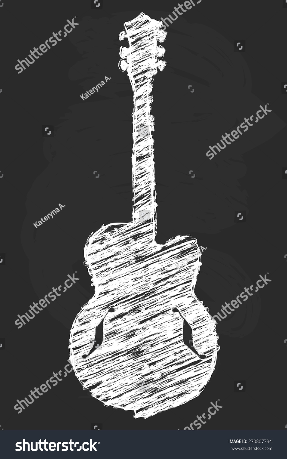 Chalk Art Semi Acoustic Guitar Vector Stock Vector Royalty Free