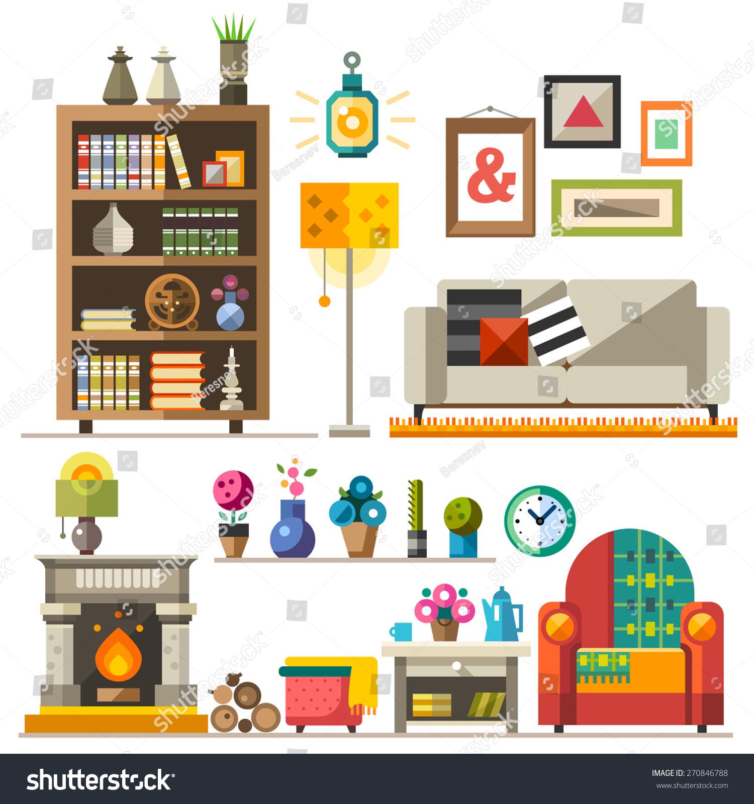Set Interior Design House Rooms Furniture Stock Vector: Home Furniture Interior Design Set Elements Stock Vector