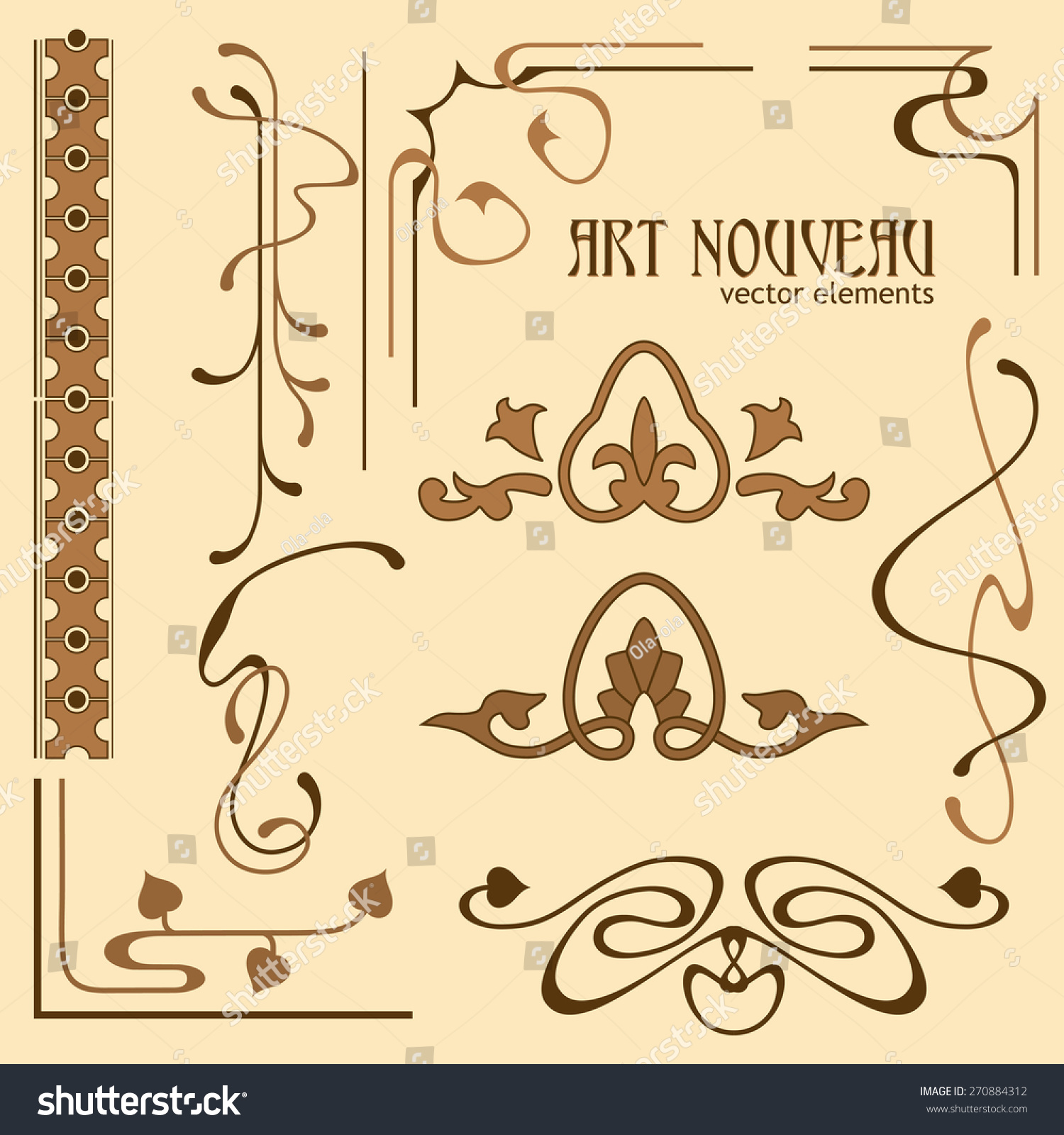 set nouveau decorative elements your stock vector 270884312
