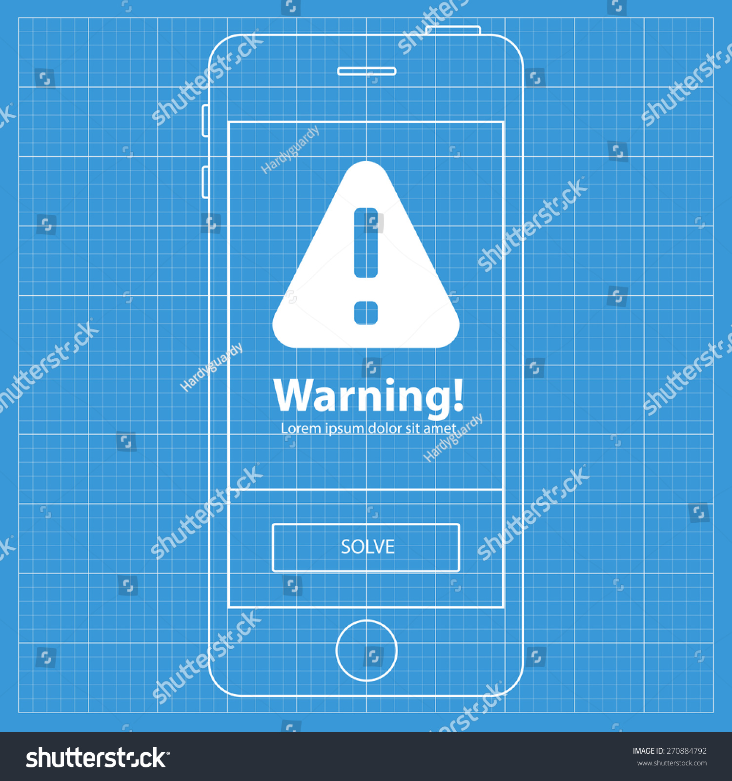 Mobile blueprint wireframe app screen warning stock vector 270884792 mobile blueprint wireframe app screen warning screen which can be used as a mockup for malvernweather Choice Image