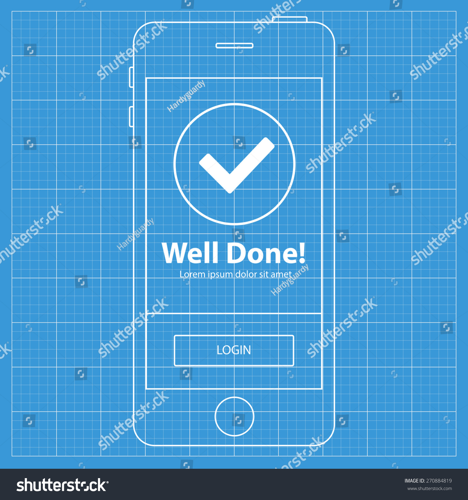 Mobile blueprint wireframe app screen success stock vector 270884819 mobile blueprint wireframe app screen success screen which can be used as a mockup for malvernweather Choice Image