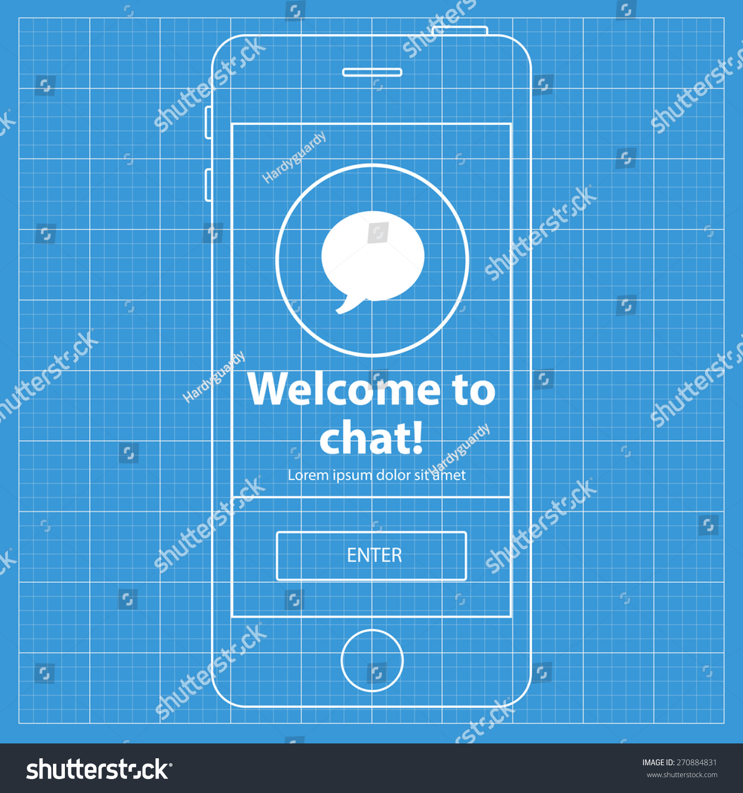Mobile blueprint wireframe app screen welcome vectores en stock mobile blueprint wireframe app screen welcome to chat screen which can be used as a malvernweather Choice Image
