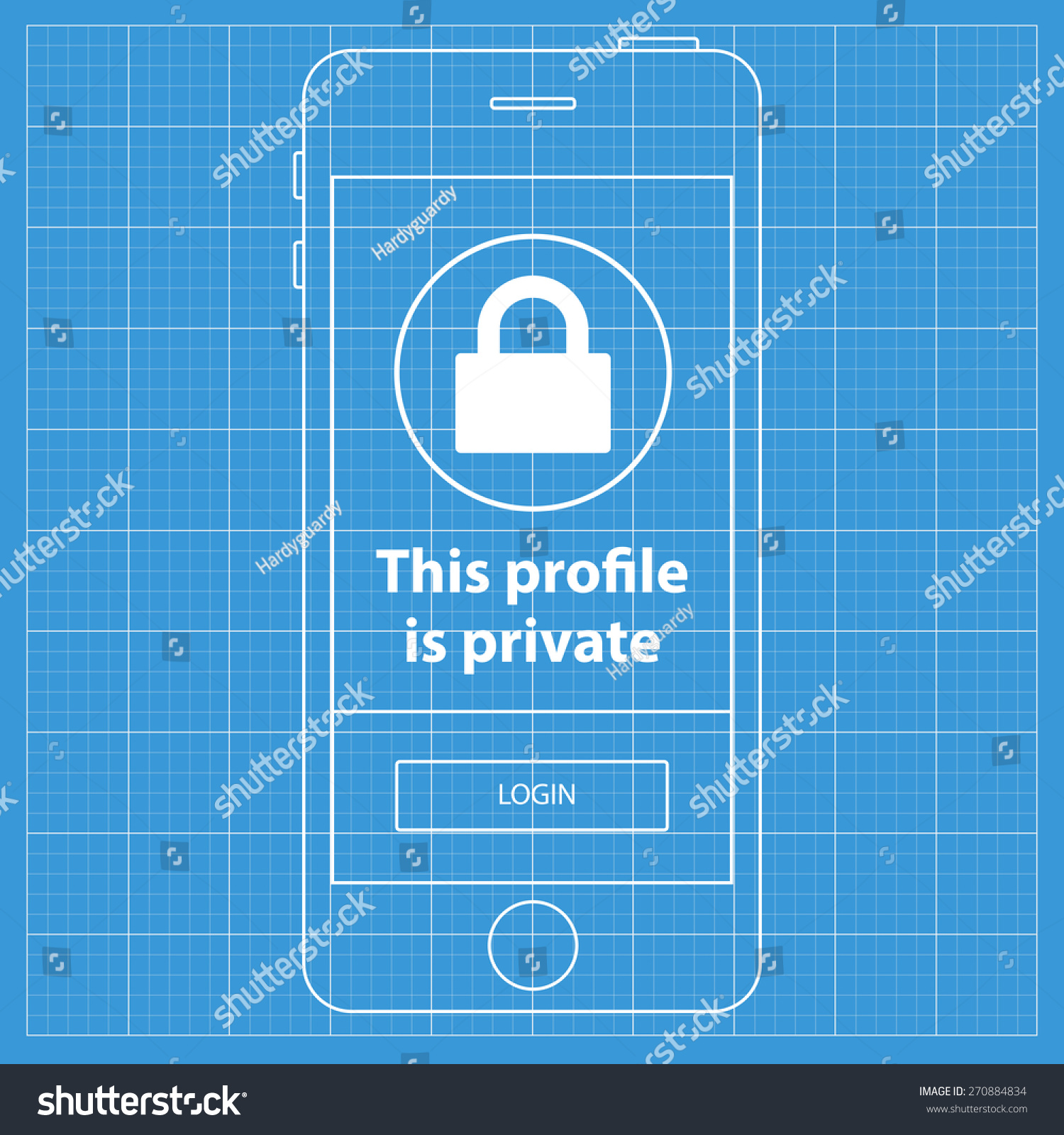 Mobile blueprint wireframe app screen private stock vector 270884834 mobile blueprint wireframe app screen private profile screen which can be used as a mockup malvernweather Choice Image