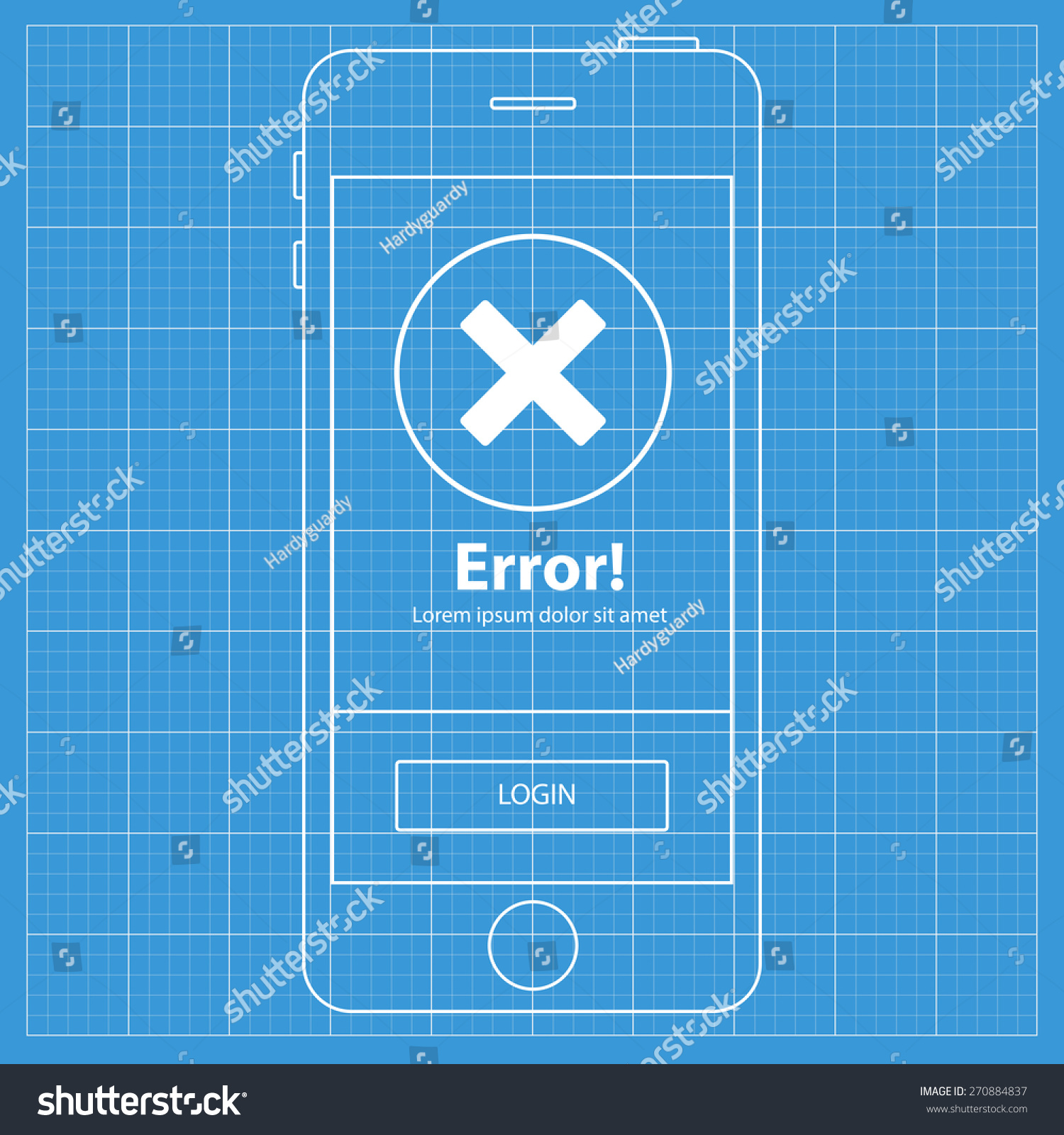 Mobile blueprint wireframe app screen error profile stock photo mobile blueprint wireframe app screenror profile screen which can be used as a mockup malvernweather Images