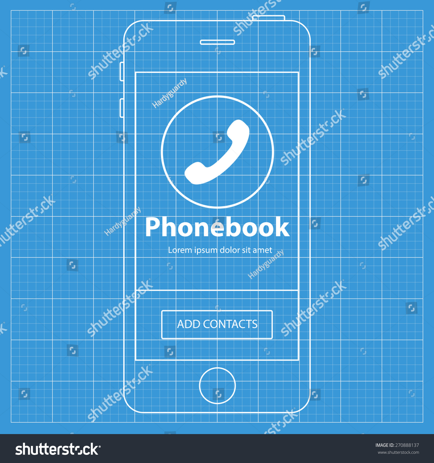 Mobile blueprint wireframe app screen phonebook vectores en stock mobile blueprint wireframe app screen phonebook screen which can be used as a mockup for malvernweather Images