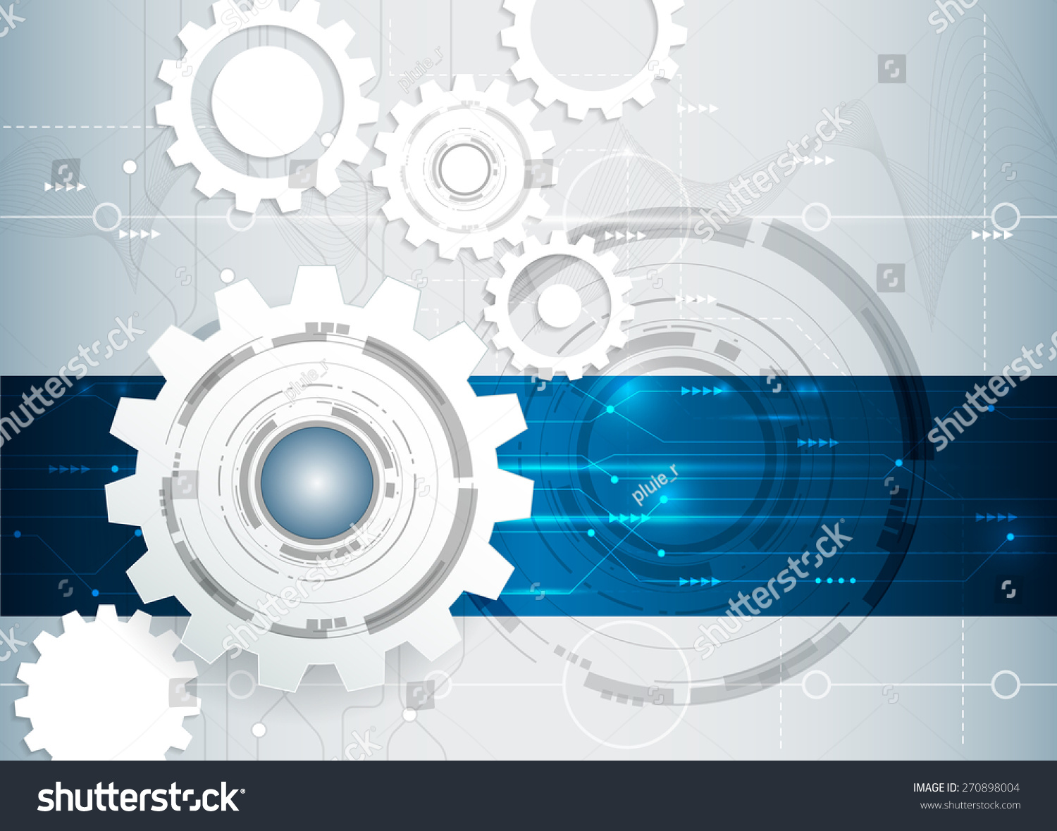 Vector Illustration Abstract Futuristic White Gear Stock Circuit Board Royalty Free Image Wheel On High Computer Technology Business