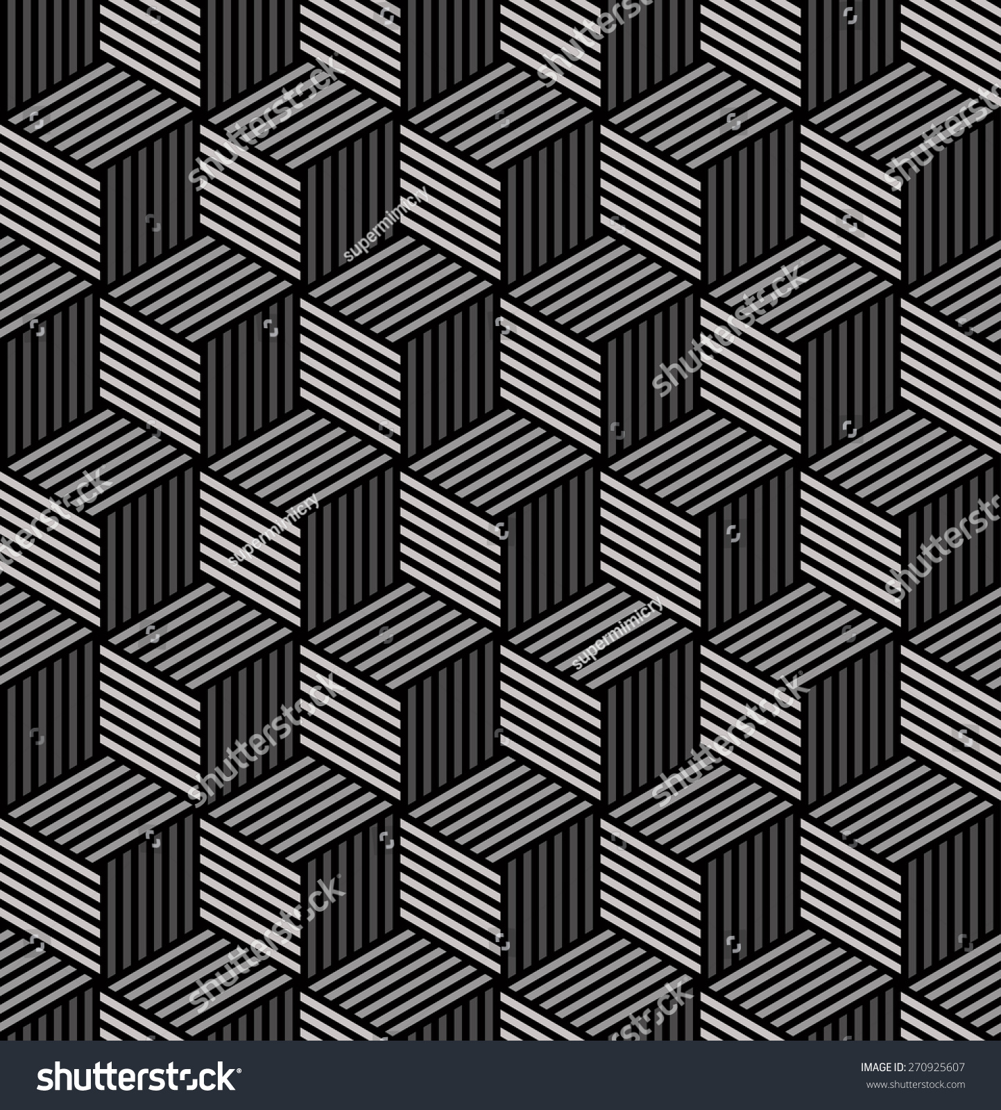 Striped Isometric Cube Pattern Seamless Vector Stock ...