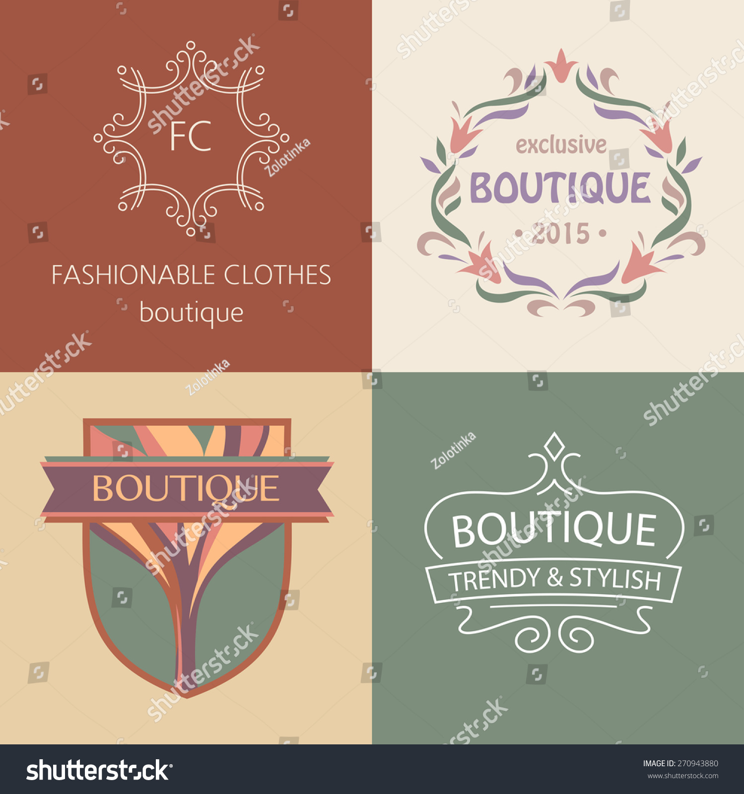 Set Logos Boutique Clothing Shoes Accessories Stock Illustration