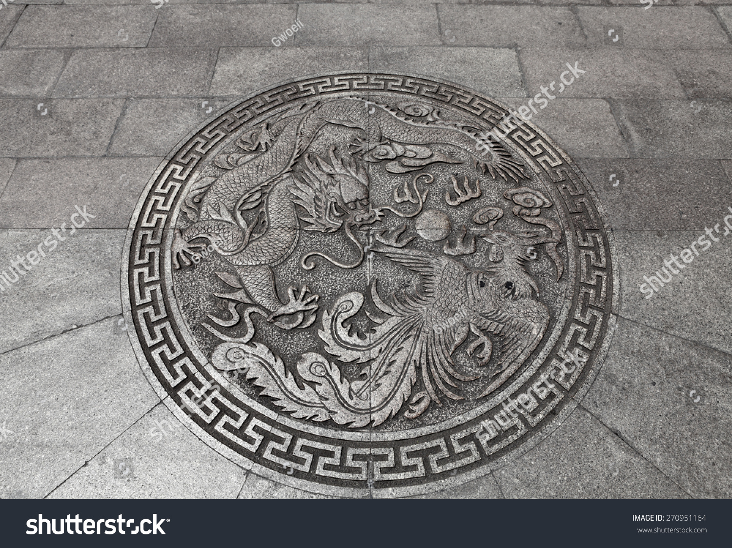 Ancient chinese imperial dragon phoenix feng stock photo 270951164 an ancient chinese imperial dragon and phoenix feng shui symbol on a medieval castle fortress wall buycottarizona