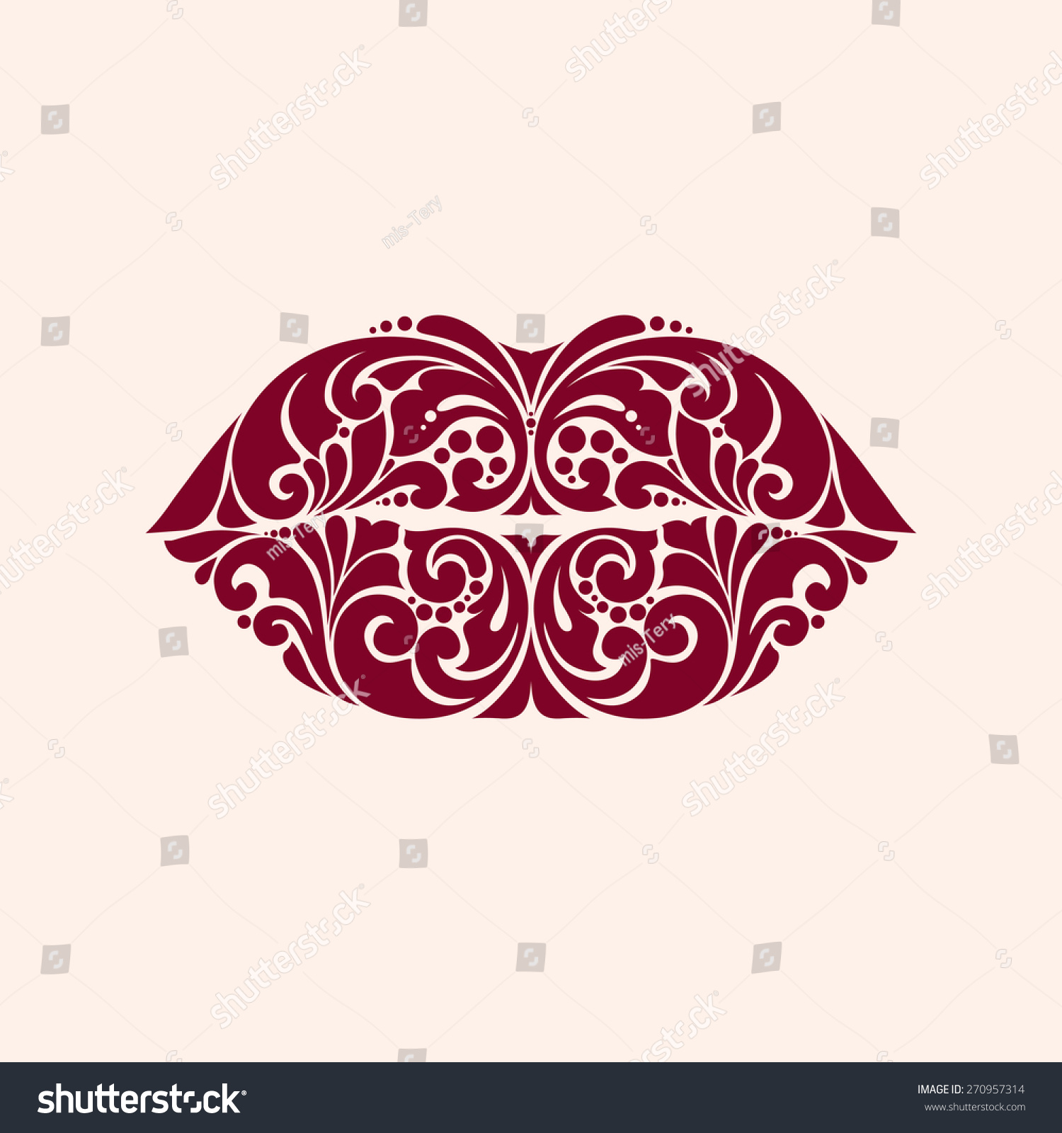 ornate red lips icon logo kiss stock vector 270957314