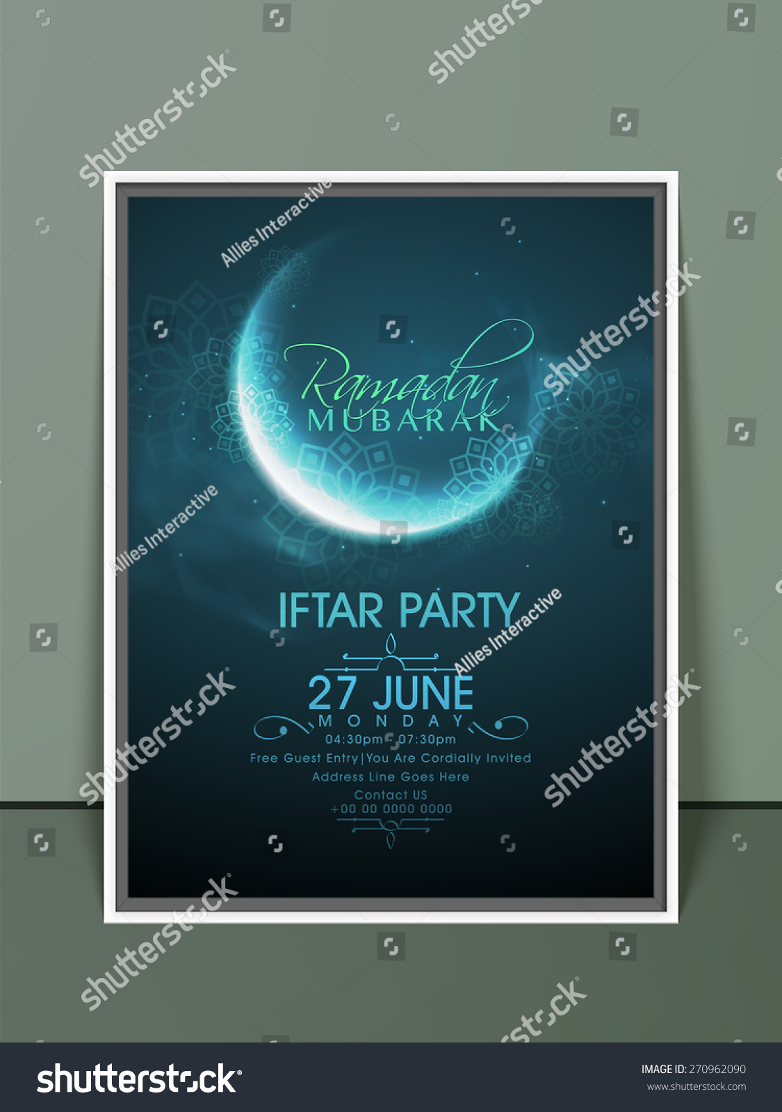 Ramadan kareem iftar party celebration invitation stock vector ramadan kareem iftar party celebration invitation card with crescent moon in blue night and floral stopboris Gallery