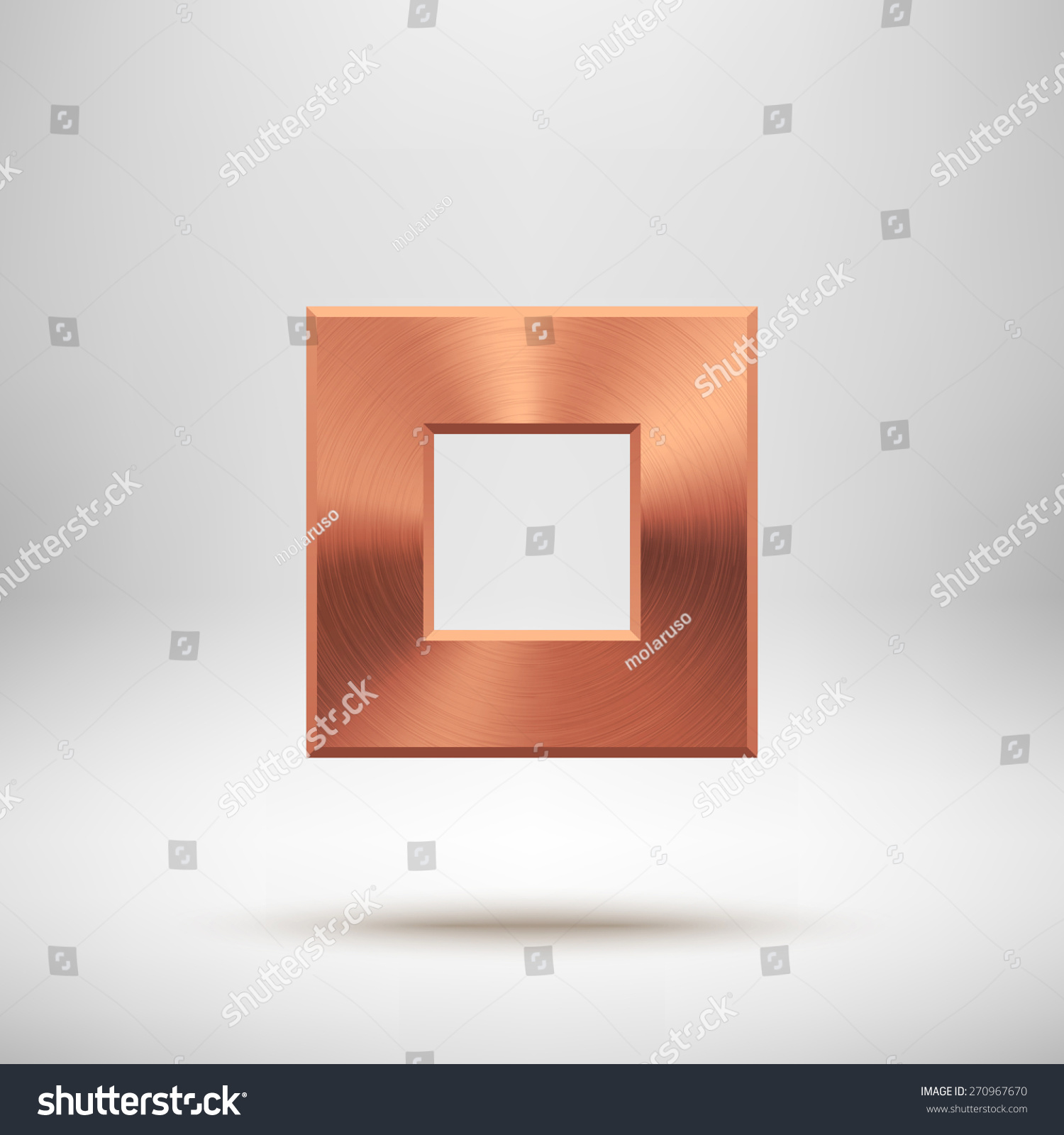 bronze abstract square badge technology blank stock vector royalty